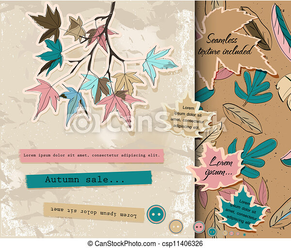 Scrapbooking set about autumn. - csp11406326