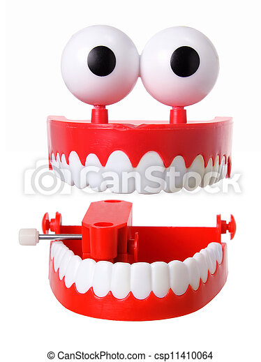 Stock Image of Chattering Teeth on White Background ...