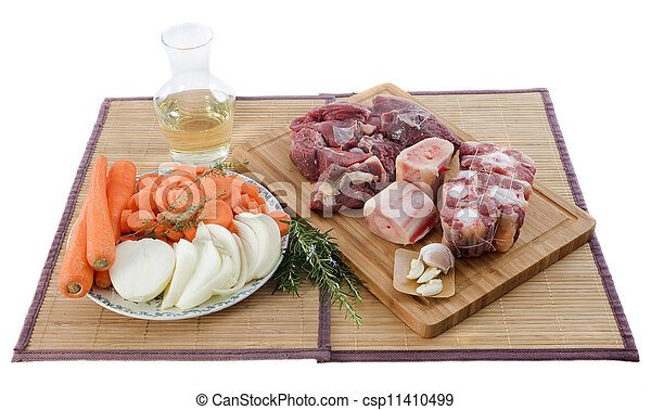 variety of meat, vegetables and wine - csp11410499
