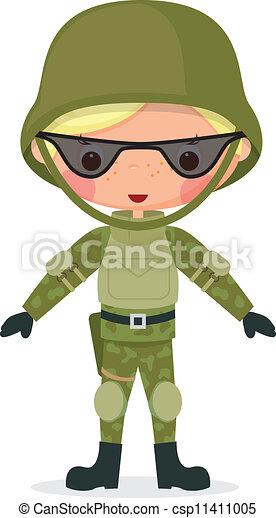 Military cartoon boy - csp11411005