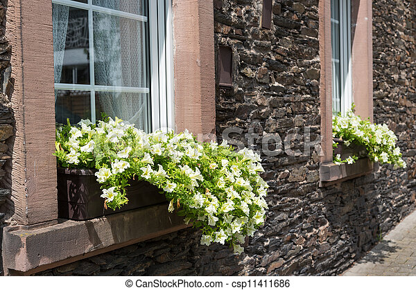 Ancient house with window-sills and  flower pots - csp11411686