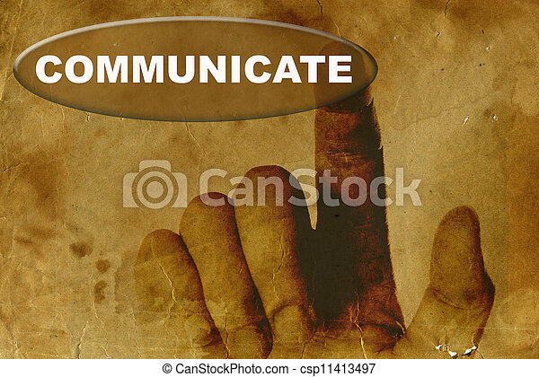 vintage paper with hand and word of  communicate - csp11413497