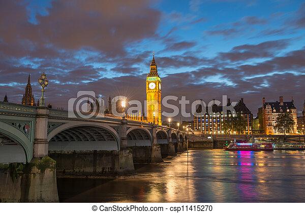 Big Ben and House of Parliament at River Thames International Landmark of London England at Dusk - UK - csp11415270