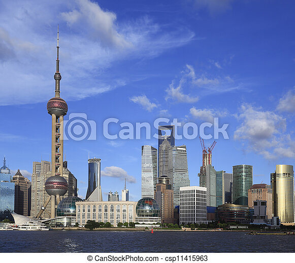 Lujiazui Finance&Trade Zone of Shanghai skyline at city landscap - csp11415963