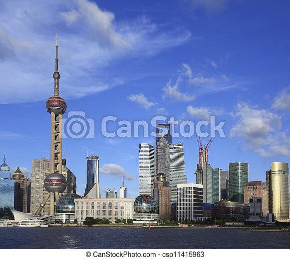 Lujiazui Finance&Trade Zone of Shanghai skyline at city landscap - csp11415963