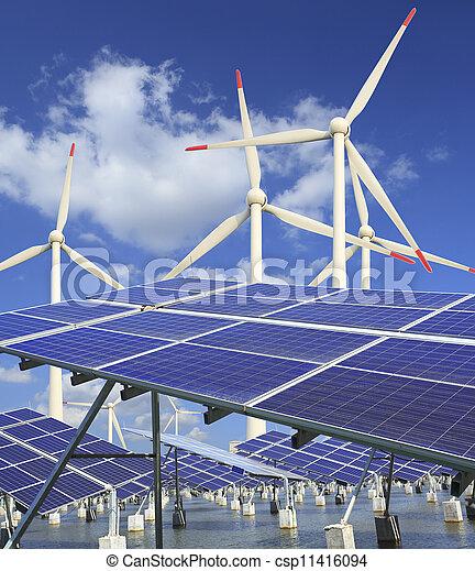 solar energy panels and wind turbine  - csp11416094