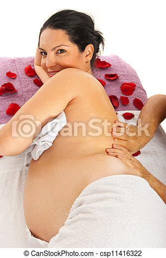 Pregnant woman massage - csp11416322
