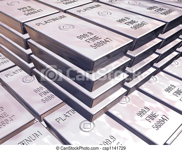 stacks of platinum bars - csp1141729