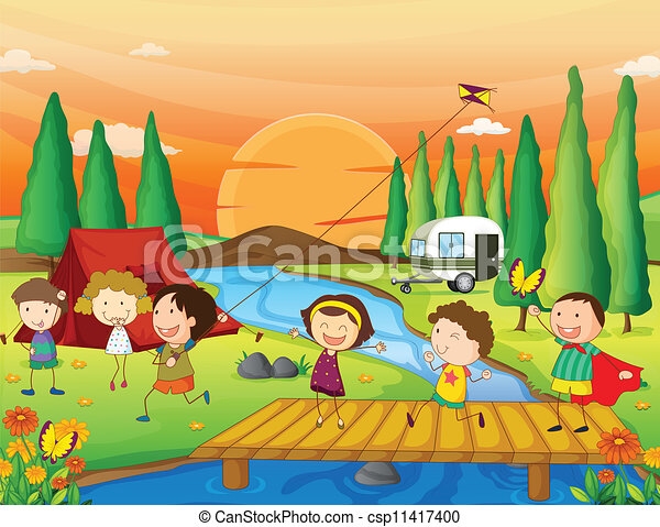 Vector Clipart of kids playing in nature - illustration of kids ...