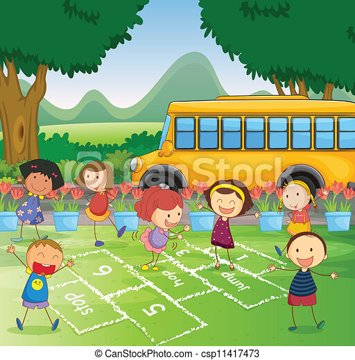 Hopscotch in park - csp11417473