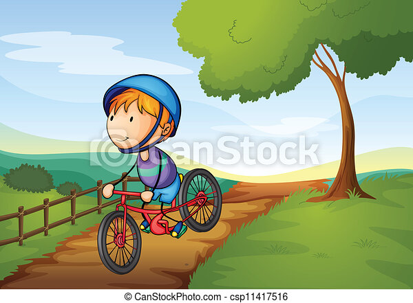 a boy and a bicycle - csp11417516