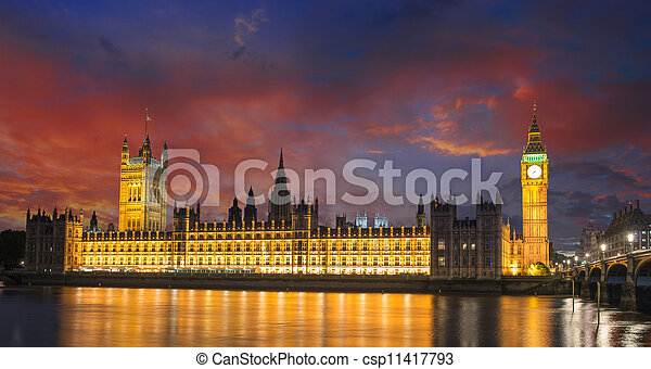 Big Ben and House of Parliament at River Thames International Landmark of London England at Dusk - UK - csp11417793