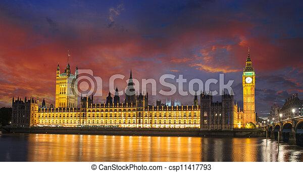Big Ben and House of Parliament at River Thames International Landmark of London England at Dusk - UK - csp11417793