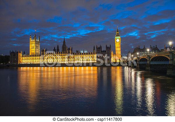 Big Ben and House of Parliament at River Thames International Landmark of London England at Dusk - UK - csp11417800