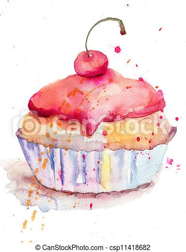 vattenfärg, Tårta,  Illustration - csp11418682