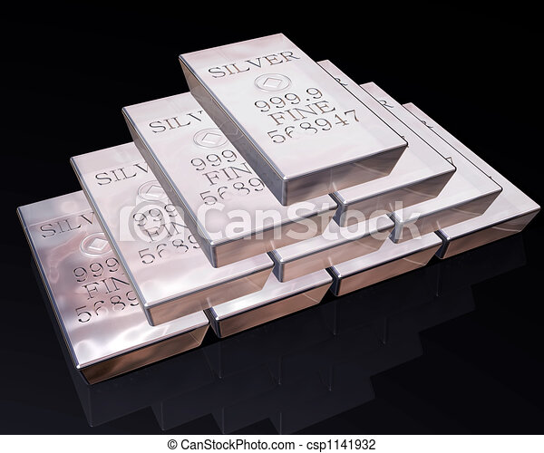 Stack of Silver bars - csp1141932