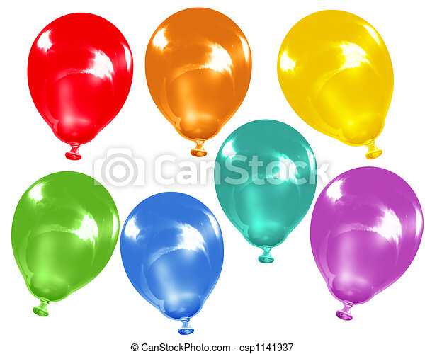 Rainbow colour balloons - csp1141937