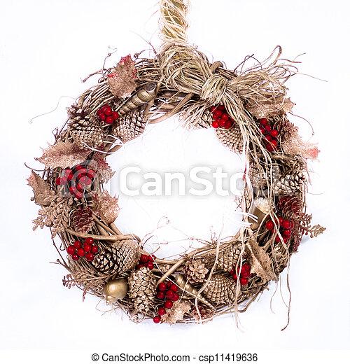 Holiday Twig Wreath with Raffia - csp11419636