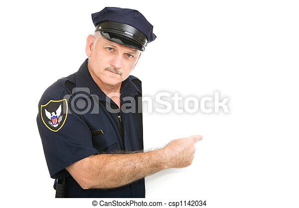 Serious Policeman Pointing - csp1142034