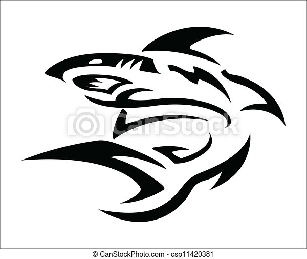 Vecteur de tatouage tribal requin conception for Can you bleach white shirts with logos
