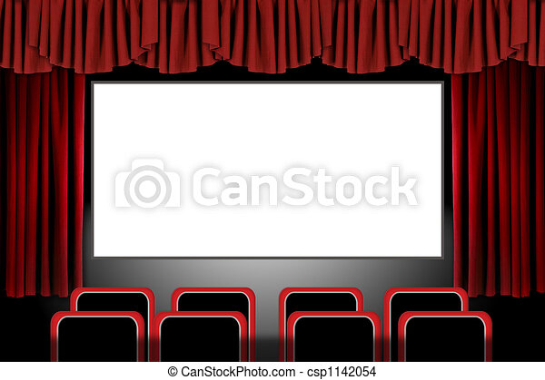 Closed theater curtains - Drawing Of Red Stage Drapes In A Movie Theatre Setting