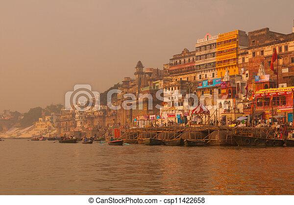 Ghats in ancient city of Varanasi, India - csp11422658