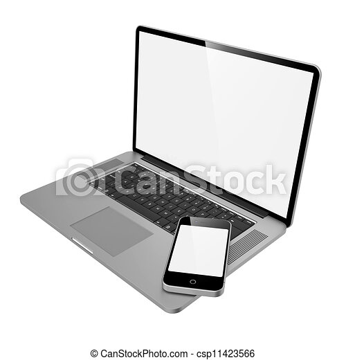 Laptop Computer and Mobile Phone. - csp11423566
