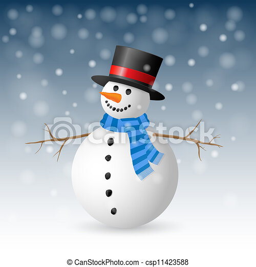 Christmas Greeting Card with snowman. Vector illustration. - csp11423588