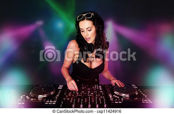 Glamorous sexy busty DJ