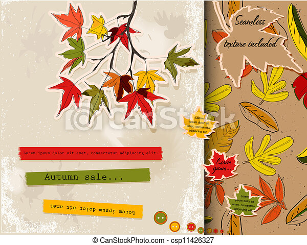 Scrapbooking set about autumn - csp11426327