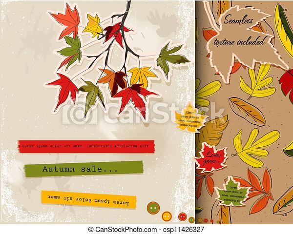 Scrapbooking set about autumn - csp11426327