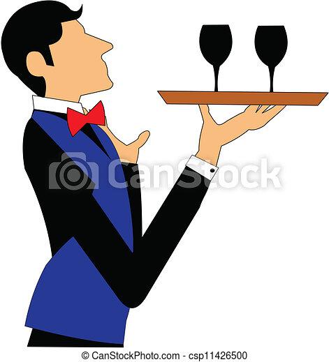 clipart vecteur de serveur plateau vin serveur porter deux lunettes de csp11426500. Black Bedroom Furniture Sets. Home Design Ideas