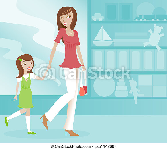 Mom and Daughter Shopping - csp1142687