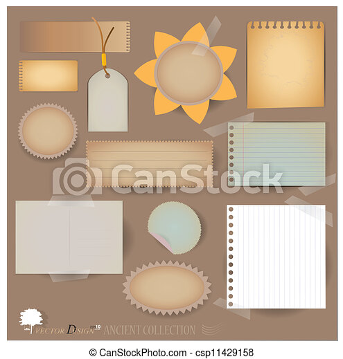 Vector set: Vintage postcard, and blank paper designs. (variety of scraps for your layouts or scrapbooking projects) - csp11429158
