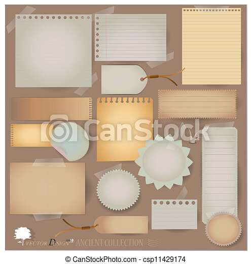 Vector set: Vintage postcard, and blank paper designs. (variety of scraps for your layouts or scrapbooking projects) - csp11429174