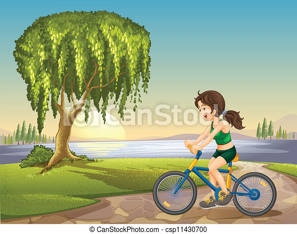 a girl and bicycle - csp11430700