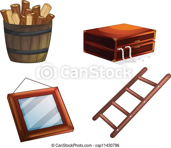 Eps vectores de de madera objetos vario ilustraci n for Cosas con tarimas de madera