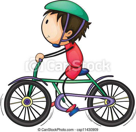 Vector - niño, bicicleta - stock de ilustracion, ilustracion libre de ...