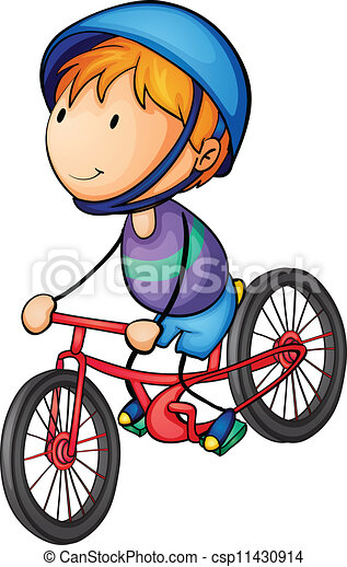 a boy riding on a bicycle - csp11430914