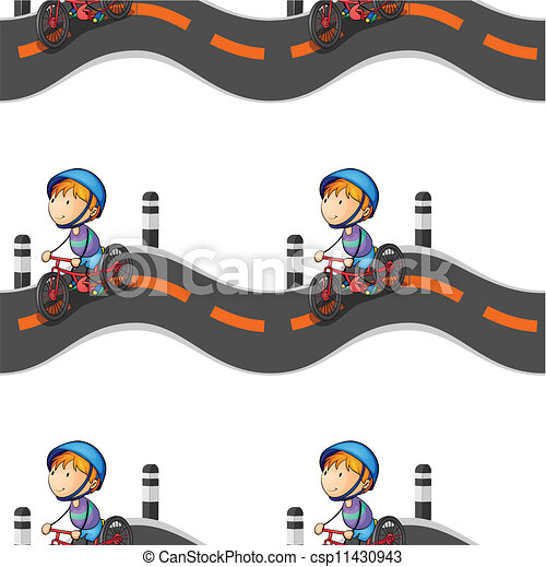 boy riding on bicycle - csp11430943