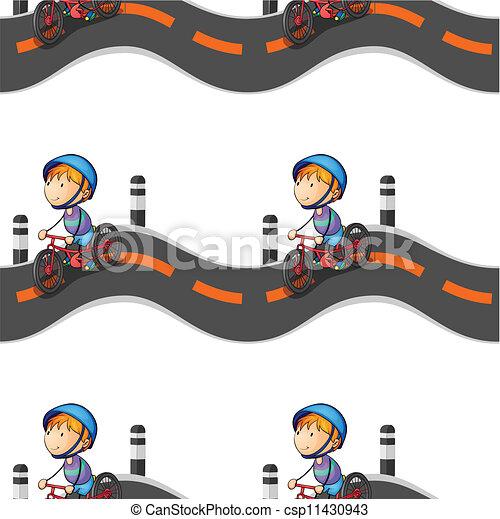boy riding on bicycle - csp11430943
