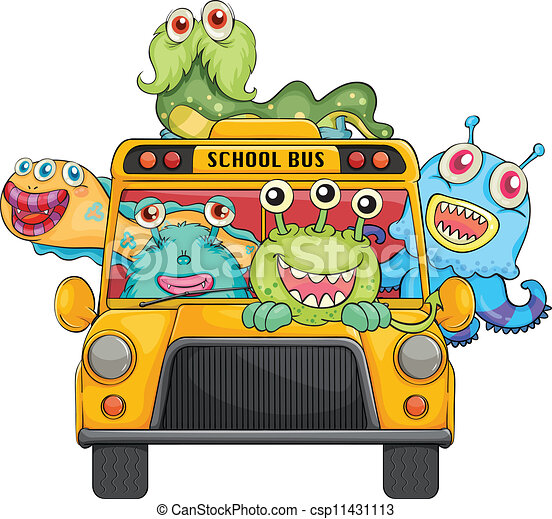 Vector Clip Art of monsters and school - illustration of ...