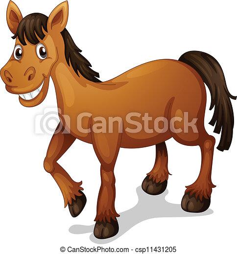 Vektor clipart av h st tecknad film illustration av a h st tecknad csp11431205 s k - Clipart cheval ...