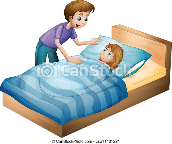 Vector Illustration of a boy and sleeping girl - illustration of a ...