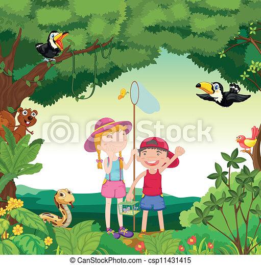 Vector Clip Art of animals, birds and kids - illustration of ...