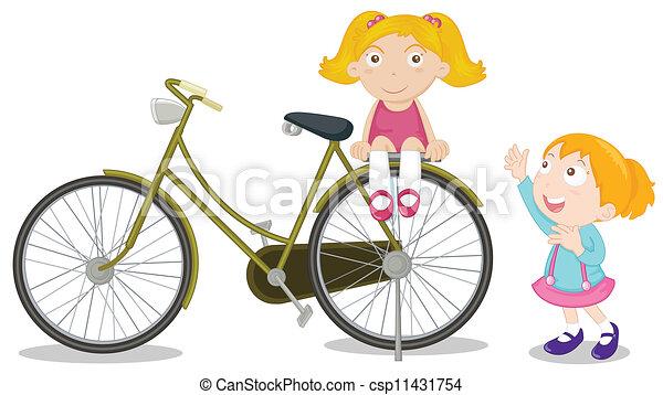 Bicycle Kids Drawing Kids on a Bike Csp11431754