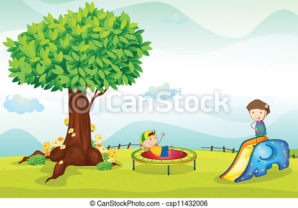 Vector Clipart of kids playing in nature - illustrtion of kids ...