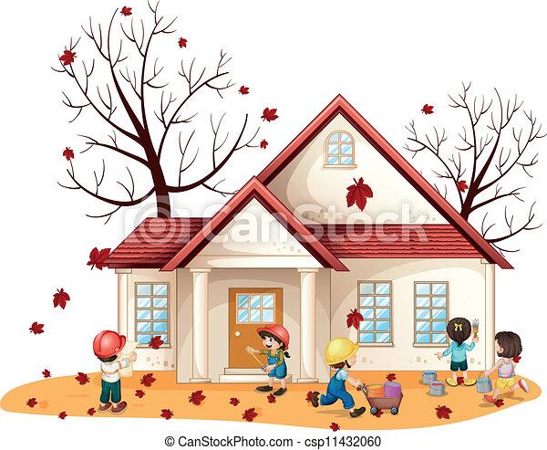 clip art vektor von haus kinder putzen abbildung von kinder putzen haus csp11432060. Black Bedroom Furniture Sets. Home Design Ideas