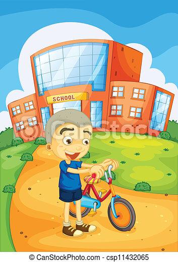 boy infront of school - csp11432065