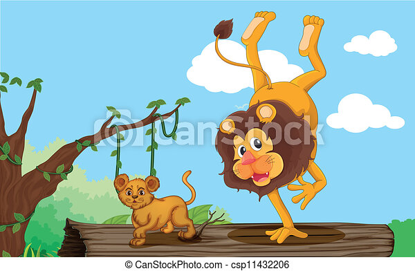 Vector Clipart of a lion and cub - illustration of a lion and cub ...